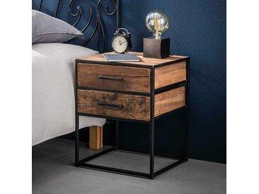 Nachttisch Kommode aus Hartholz und Stahl 45 cm breit