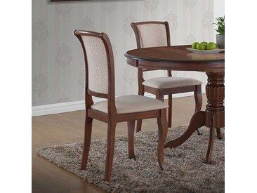 Esstisch Stühle in Mahagonifarben Beige Webstoff (2er Set)