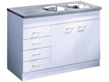 Spülschrank in Weiß Schubladen
