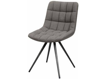 Design Stuhl in Anthrazit Jeans Stoff Stahl (2er Set)