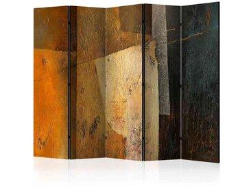 Leinwand Paravent mit abstraktem Muster Orange und Braun