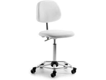 Drehstuhl in Weiß und Chromfarben verstellbarer Rückenlehne