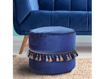 Sitzpouf in Blau Samt Quasten versehen