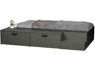 Jugendzimmer Bett in Graugrün Kiefer Massivholz