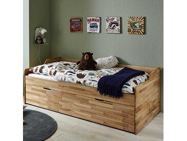 Holz Kojenbett aus Buche lackiert Rollrost und Bettkasten