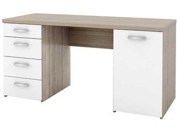 Schreibtisch in Weiß Eiche Sonoma