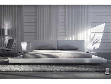 Flaches Bett in Weiß Kunstleder LED Beleuchtung