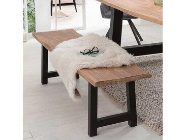 Esszimmersitzbank aus Akazie Massivholz und Eisen Baumkante