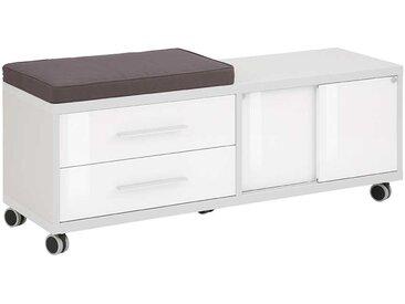 Schreibtischrollcontainer in Grau und Weiß Sitzpolster