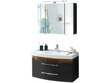 Waschtisch und Spiegelschrank in Anthrazit Hochglanz Walnuss (2-teilig)
