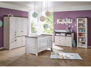 Babyzimmer Einrichtung in Weiß und Grey Wash Kiefer Massivholz (5-teilig)