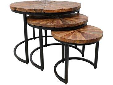 Couchtisch Set aus Massivholz und Eisen rund (3-teilig)