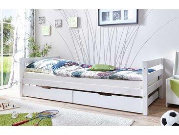 Stauraum Bett in Weiß Kiefer Massivholz