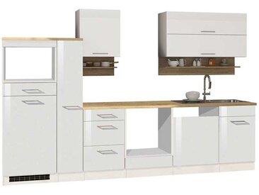 Küchenzeile in Weiß Hochglanz 310 cm breit (zehnteilig)