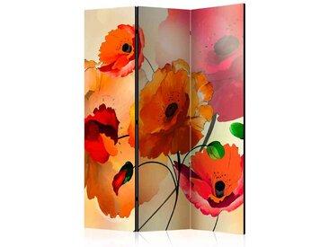 Spanische Trennwand mit Mohnblumen in Rot und Orange 3 teilig