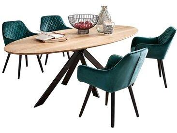 Esstischgruppe mit ovalem Tisch Polsterstühlen in Dunkelgrün (5-teilig)