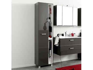 Badezimmer Hochschrank in Dunkel Grau Hochglanz 45 cm breit