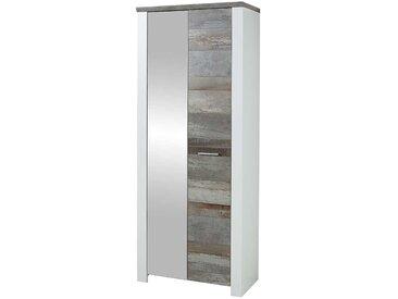 Garderobenschrank 80 cm breit Weiß und Treibholz Optik