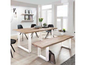 Design Sitzgruppe aus Akazie White Wash massiv Baumkante (2-teilig)