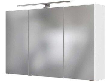 LED Badspiegelschrank in Weiß 3-türig
