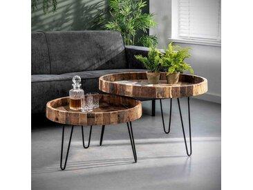 Sofatisch Set aus Recyclingholz und Metall rund (2-teilig)
