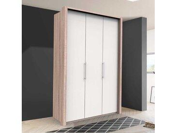 Moderner Jugendkleiderschrank in Weiß und Eiche Sägerau zwei Falttüren