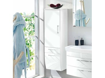 Hängender Badschrank in Hochglanz Weiß 40 cm breit