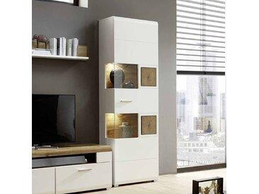 Standvitrine in Weiß Holz Dekor LED Beleuchtung