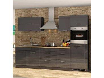 Einbauküchenzeile mit Geräten Hochglanz Grau (11-teilig)