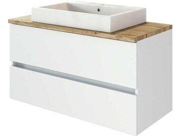 Waschtischunterschrank in Weiß und Wildeiche Optik Aufsatz-Waschbecken