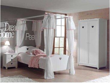 Mädchenzimmer mit Himmelbett Weiß (3-teilig)