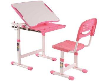 Höhenverstellbarer Schülerschreibtisch und Stuhl in Rosa Weiß (2-teilig)