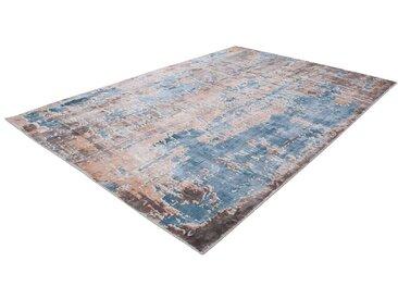 Kurzflor Teppich im Vintage Design Türkis und Beige