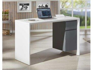 Schreibtisch in Dunkelgrau und Weiß 120 cm breit