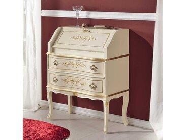 Barock Schreibsekretär in Weiß und Goldfarben verziert 75 cm breit