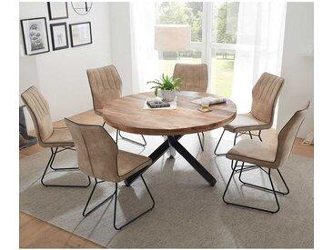 Esszimmer Sitzgruppe mit rundem Tisch 6 Stühlen in Beige (siebenteilig)