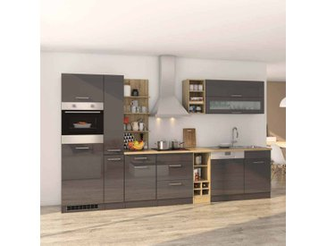 Küchenmöbel Set in Grau Hochglanz Eiche Sonoma mit Geräten (14-teilig)