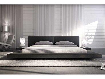 Design Bett und Nachtkonsolen in Schwarz Kunstleder LED Beleuchtung