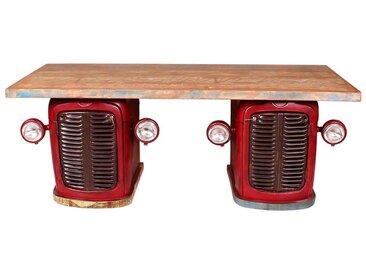 Ausgefallener Schreibtisch im Traktor Design Rot Bunt