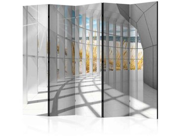 Paravent mit Säulengang und Strandblick 5 teilig