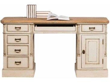 PC Schreibtisch in Creme Weiß Teakholz furniert