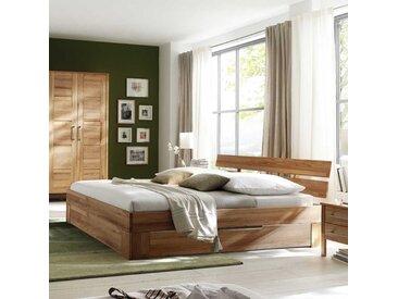 Bett mit Schubkasten Kernbuche massiv (dreiteilig)