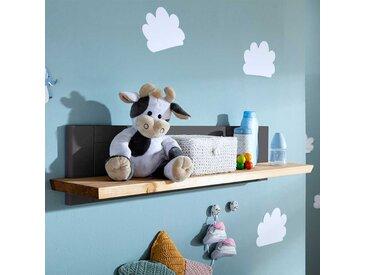 Babyzimmer Wandregal in Grau und Eichefarben Kiefer Massivholz