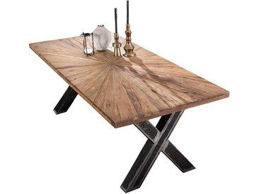 Design Esszimmer Tisch aus Teak Recyclingholz und Eisen Loft Style