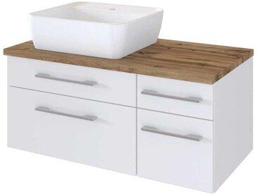 Waschtischunterbau in Weiß und Wildeiche Dekor Aufsatzbecken links