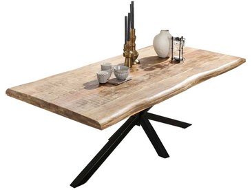 Esstisch aus Mangobaum Massivholz und Eisen Loft Design