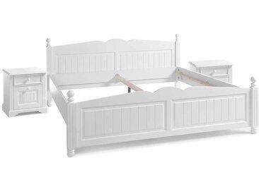 Landhaus Doppelbett in Weiß Kiefer Nachtkommoden (3-teilig)