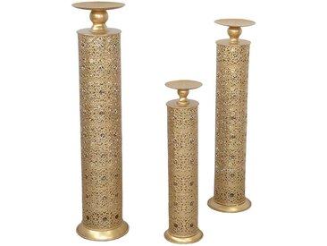 Kerzenhalter in Goldfarben orientalischen Design (3-teilig)