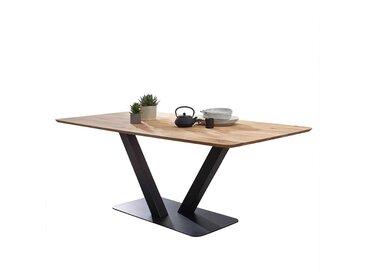 Säulentisch aus Wildeiche Massivholz Metall in Schwarz
