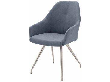 Tischsessel in Blau Grau Edelstahl (2er Set)